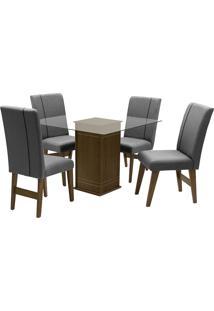 Conjunto De Mesa Para Sala De Jantar Com 4 Cadeiras Saint Louis-Dobue - Castanho / Grafite