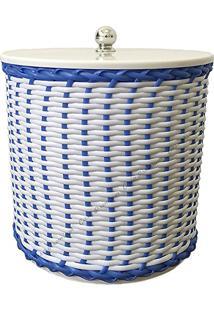 Lixeira 6 Litros Trançadas (Branco Com Azul)
