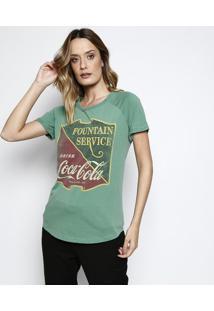 Camiseta ''Fountain Service'' - Verde & Amarela - Cococa-Cola