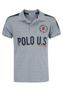 Camisa Polo Polo Us 189 - Masculina - Cinza