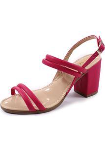 Sandália Rosa Matte Salto Grosso Pink
