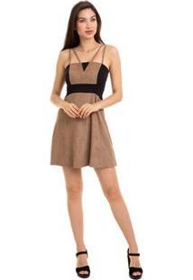 Vestido Suede Bicolor Alça Dupla - Feminino-Bege