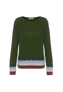 Blusa Feminina Tricot Zig Zag - Verde