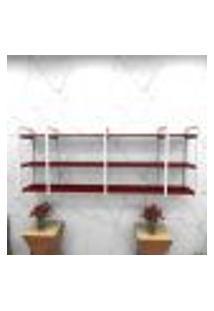 Estante Estilo Industrial Sala Aço Cor Branco 180X30X68Cm Cxlxa Cor Mdf Vermelho Modelo Ind34Vrsl