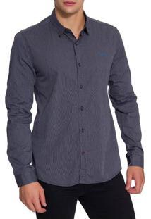 Camisa Ml Ckj Masc Listrada Silk Logo - Preto - P