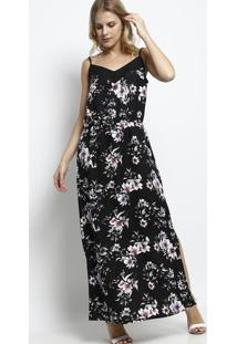 Vestido Longo Floral Sem Manga - Preto & Roxo - Vip Vip Reserva