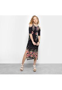 Vestido Farm Midi Tubinho Fenda Estampado - Feminino-Preto