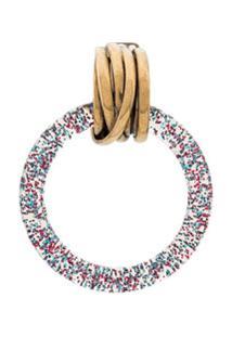 Balenciaga Par De Brincos De Argola Com Glitter - Rosa