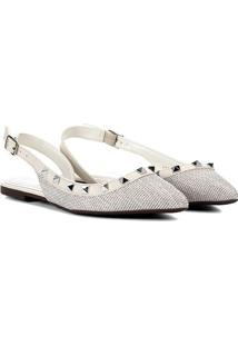 Sapatilha Santa Lolla Chanel Spikes Feminina - Feminino-Off White