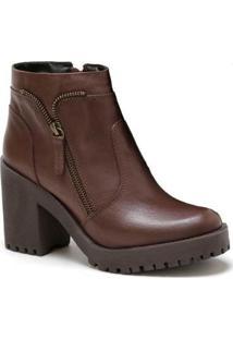 Bota Salto Alto Em Couro Doc Shoes Feminina - Feminino-Café