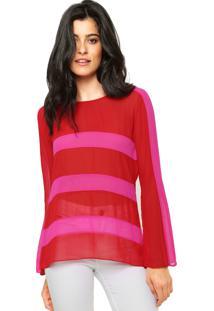 Blusa Carmim Stripe 6350 1314 Vermelha/Rosa