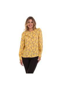 Blusa Kinara Estampada Crepe Maquinetado Amarela