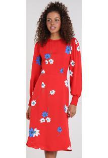 8d580dee2 ... Vestido Feminino Mindset Midi Estampado Floral Manga Longa Vermelho