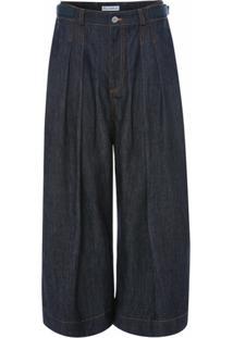 Jw Anderson Calça Jeans Pantalona Com Pregas - Azul