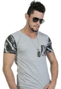 Camiseta Gola Super V Mescla Com Mangas E Bolso Camuflado - Masculino