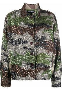 Retrofete Jaqueta Com Estampa Camuflada E Paetês - Cinza