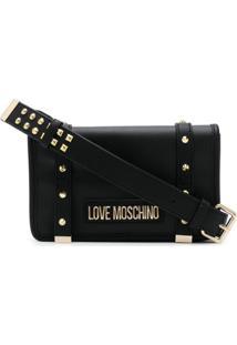 Love Moschino Bolsa Transversal Com Placa De Logo - Preto