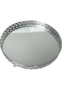 Bandeja Metal C/Espelho Round X Edge - Prata - Urban - Incolor - Dafiti