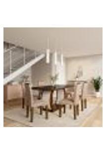 Conjunto De Mesa De Jantar Com Vidro E 6 Cadeiras Jéssica Ii Suede Animalle Castor E Chocolate