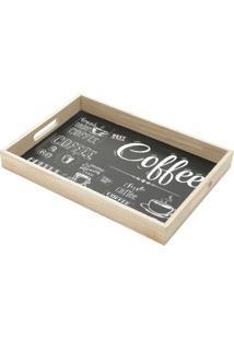 Bandeja Coffee Preta E Carvalho 4X25X35 Cm