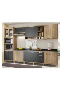 Cozinha Completa Multimóveis Com 8 Peças Sicília 5835 Argila/Grafite