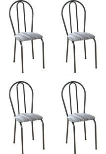 Conjunto 4 Cadeiras Hécate Cromo Preto E Linho