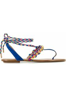 Aquazzura Sandália De Tiras Trançadas - Azul