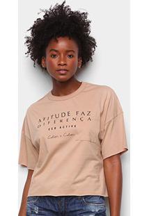 Camiseta Colcci Diferença Eco Active Feminina - Feminino-Bege