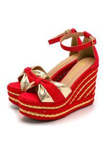 Sandália Anabela Salto Alto Em Nobucado Vermelho Com Dourado Metalizado