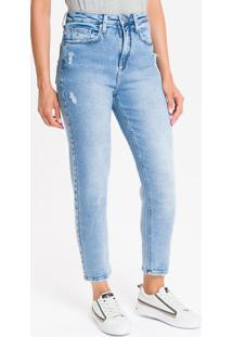Calça Jeans Feminina Mom Cintura Super Alta Azul Claro Calvin Klein - 38