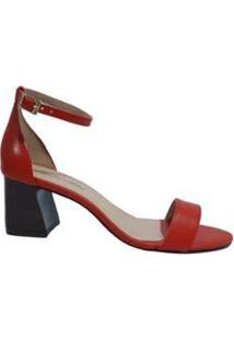 Sandália Couro Sapatos E Botas Fivela Feminino - Feminino-Coral