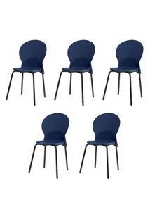 Kit 5 Cadeiras Luna Assento Azul Base Preta - 57694 Azul