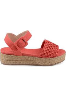 Anabela Flat Form Linho Total Coral - Coral/39