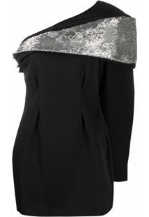 Isabel Marant Vestido Assimétrico Com Aplicação De Paetês - Preto