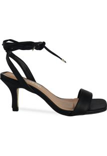 Sandália Preta De Amarração E Bico Quadrado
