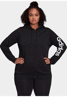 Jaqueta Adidas Essentials Plus Size Feminina - Feminino-Preto+Branco