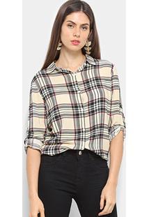 Camisa Xadrez C & V Collection Feminina - Feminino-Bege