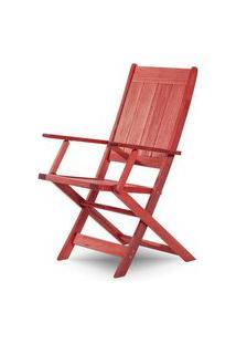 Cadeira Retangular Dobravel Acqualung+ C/ Braco Estrutura Vermelha 99Cm - 61639 Vermelho