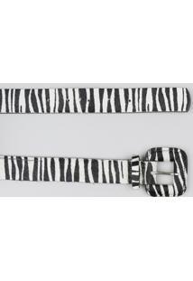 Cinto Largo Feminino Em Pelo Estampado Animal Print Zebra Off White