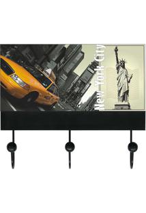 "Porta Chaves ""New York City""- Preto & Bege- 13X25X6Ckapos"
