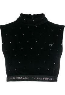 Chiara Ferragni Logo Cropped Sweater Top - Preto