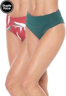 Calcinha Dupla Face Morena Rosa Hot Pant Estampado Vermelha/Verde