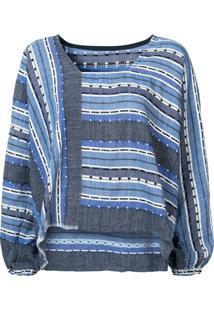 Lemlem Blusa Listrada Com Detalhes Bordados - Azul