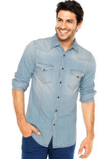 Camisa Jeans Benetton Recortes Azul