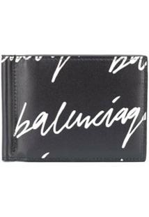 Balenciaga Carteira Cash Com Estampa De Logo - Preto