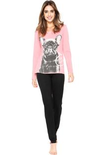 Pijama Any Any Pawsitive Rosa/Preto