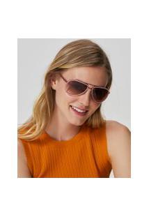 Amaro Feminino Óculos De Sol Aviador Detalhe Colors, Rosa
