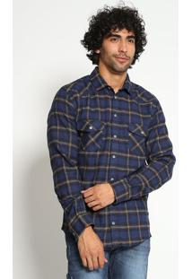 Camisa Xadrez Com Bolsos & Recortes - Azul Marinho & Begsommer