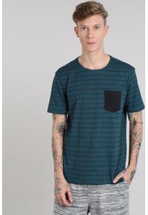 Camiseta Masculina Básica Listrada Com Bolso Manga Curta Gola Careca Verde
