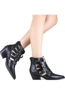 Bota Zariff Shoes Ankle Boot Vazado Preto